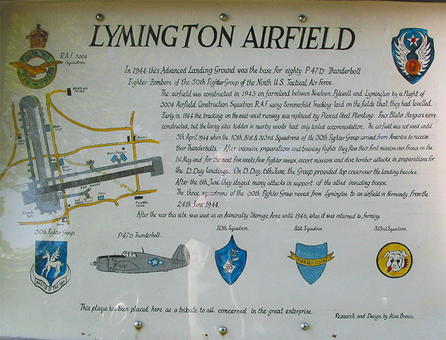 Plaque about Lymington Airfield 1940s