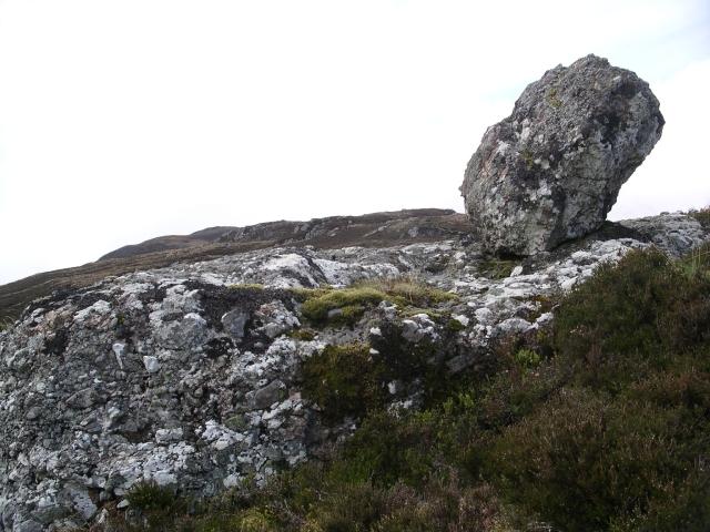 Poised boulder, Meall Fuar-mhonaidh.