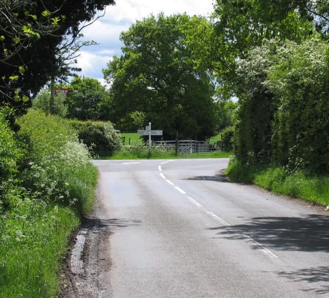 Road junction at Merry Lees
