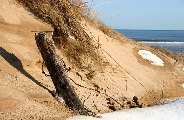 Sand dunes and world war 2 barbed wire defences