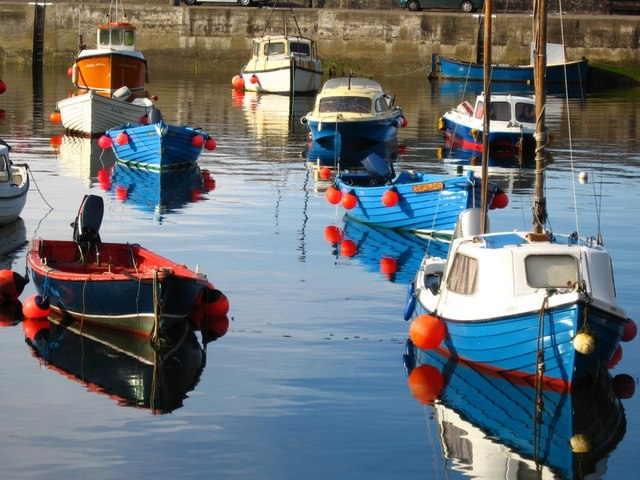 Small boats in Gardenstown harbour