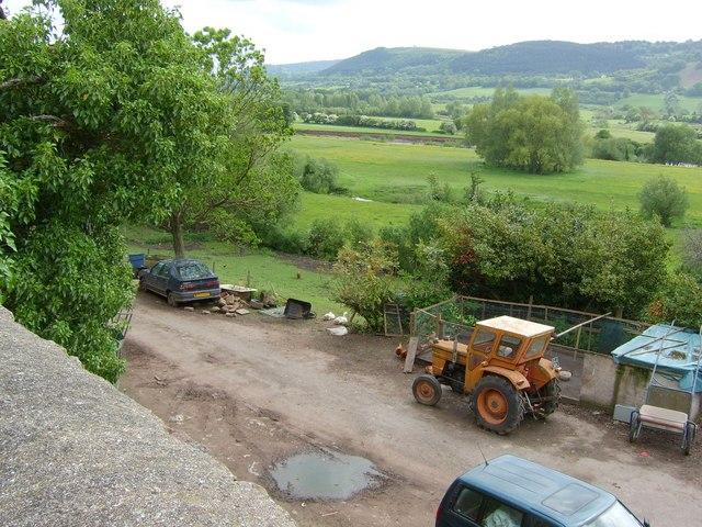 Farmyard below the town wall at Abergavenny