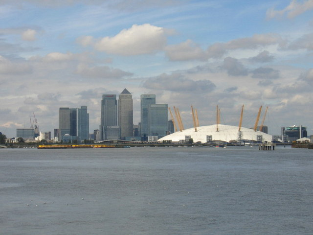 The Millennium Dome and Canary Wharf