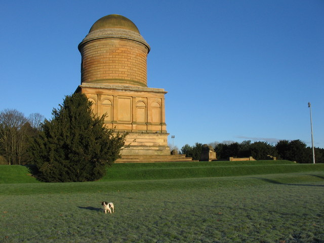 The golden glow of the Hamilton mausoleum on a December afternoon.