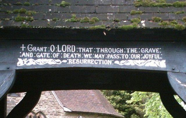Inscription on Lych Gate, Hartford Church