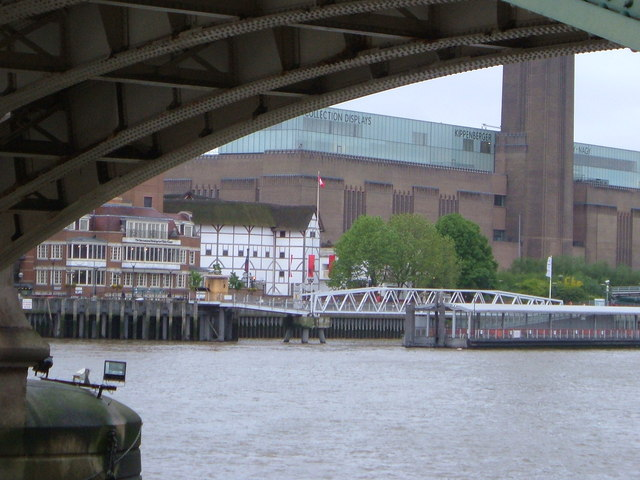 Globe and Tate from beneath Southwark Bridge