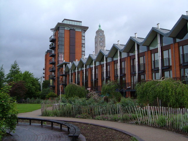 Oxo Tower from Bernie Spain Gardens