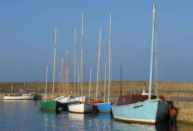 The Inner Basin of Hopeman Harbour, Morayshire.
