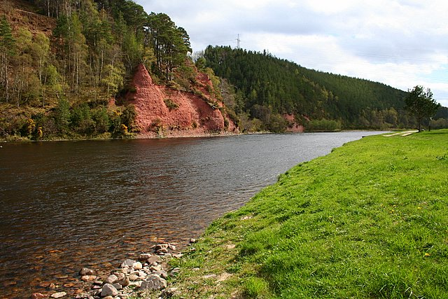 Red Sandstone Pillars of Salmon beat 4, River Spey.