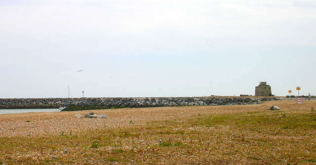 Martello Tower number 66 and the mouth of Sovereign Harbour