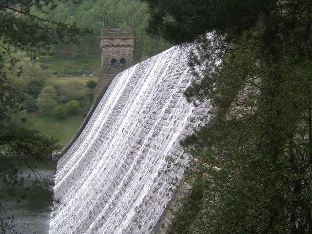 Water Flowing Over Derwent Dam