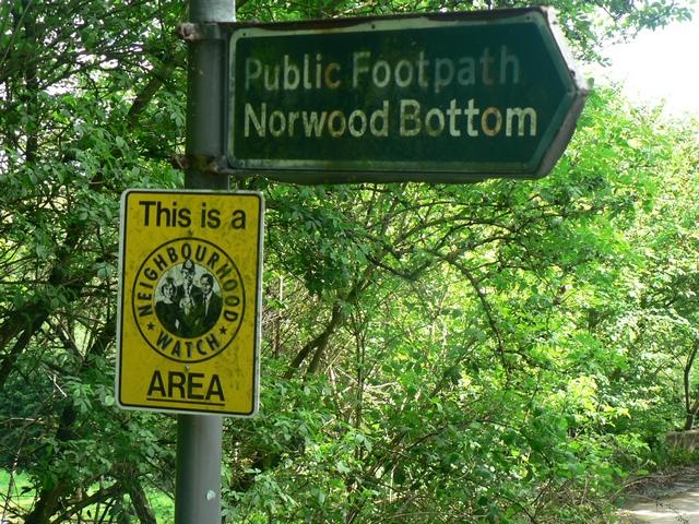 Footpath to Norwood Bottom Sign, Lindley Bridge