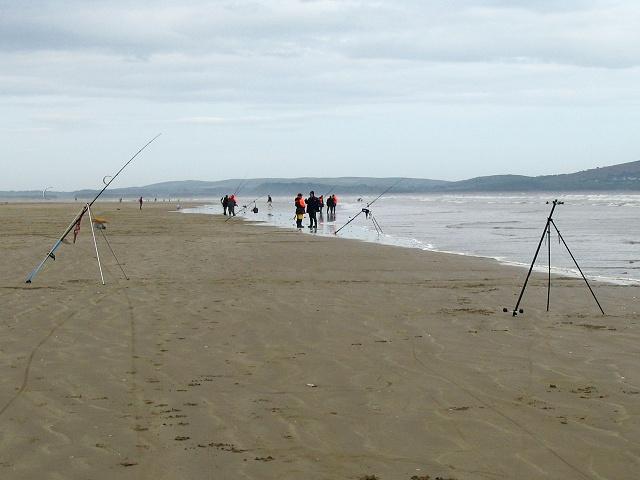 Fishing on Cefn Sidan beach