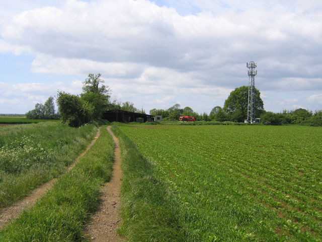 Track to farm buildings and mast, Cottenham, Cambs