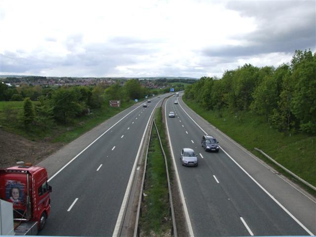 A1(M) motorway, approaching the Chester-le-Street interchange