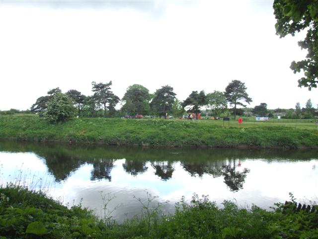River Wear, with playground in Riverside Park, Chester-le-Street in the background