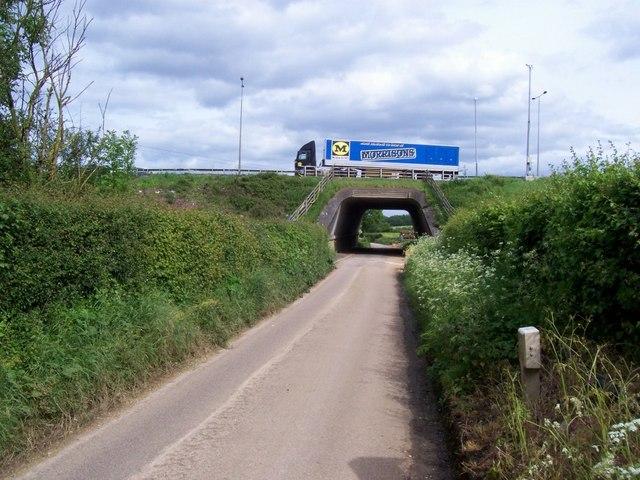 Motorway crosses B road