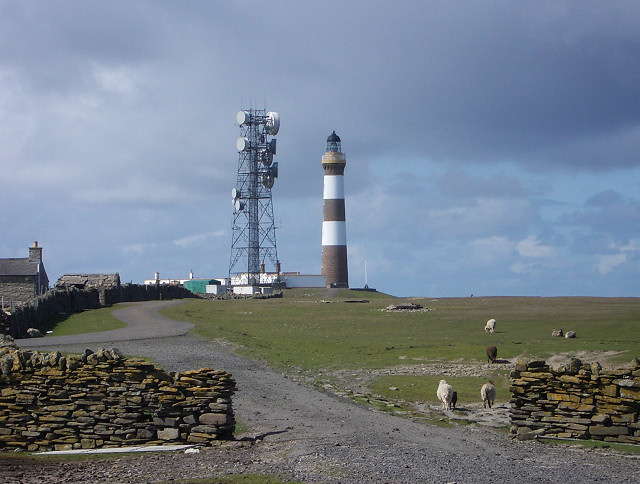 North Ronaldsay lighthouse and communications tower