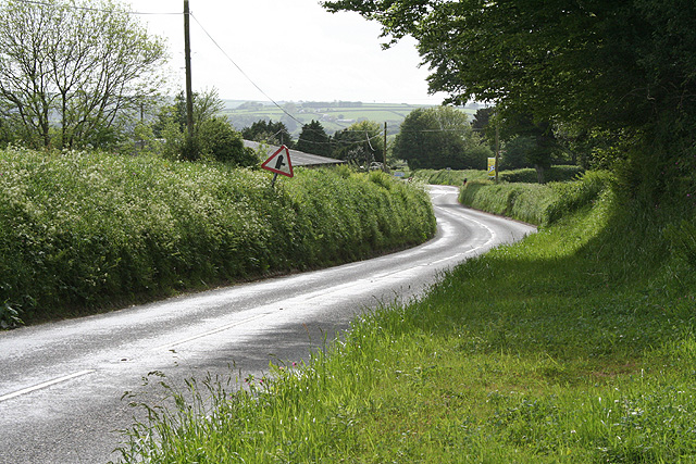 Kentisbury: the A39 approaching Porte Cross