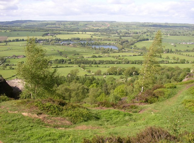 View over the gravel pits from Chevin Country Park, Otley