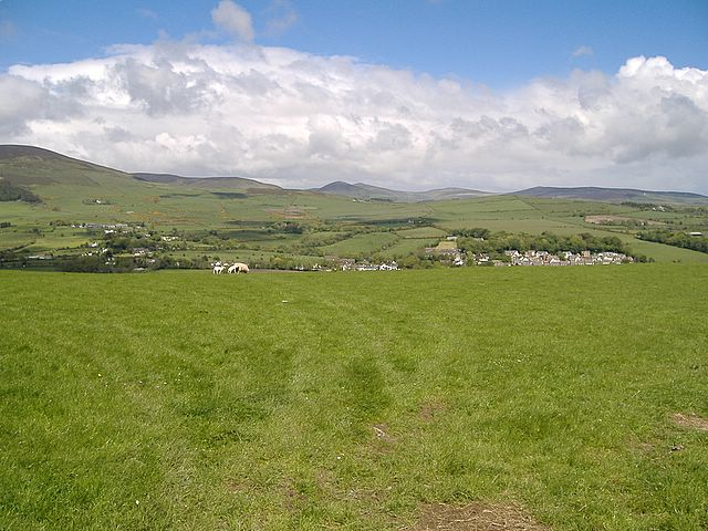 View from track above St Runius, looking  over Crosby