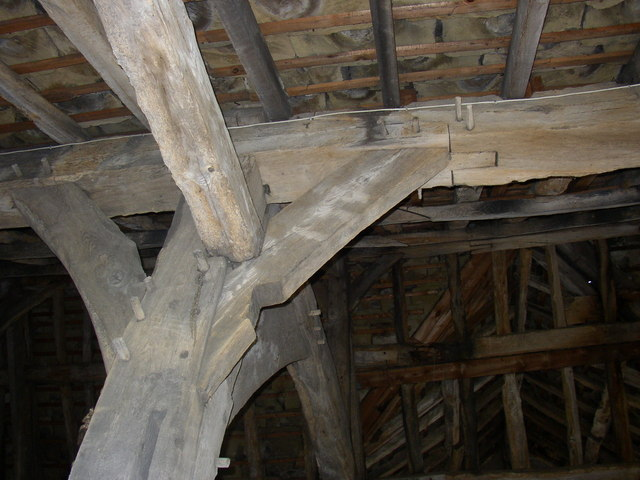 Structural detail, 15C barn, Kirklees Home Farm, Clifton