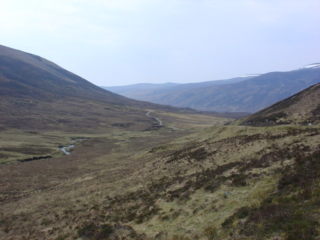 Burn and track meandering down moorland to Loch Vaich