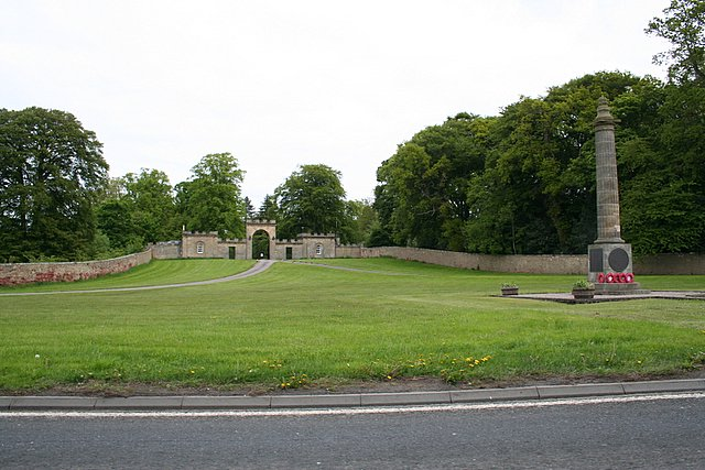 The main entrance to Gordon Castle and War memorial near Fochabers, Morayshire