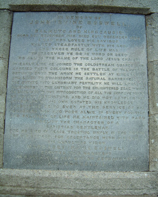 Boswell's Monument Plaque