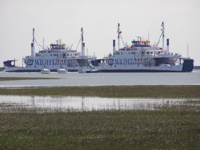 Wightlink ferries passing on the Lymington River
