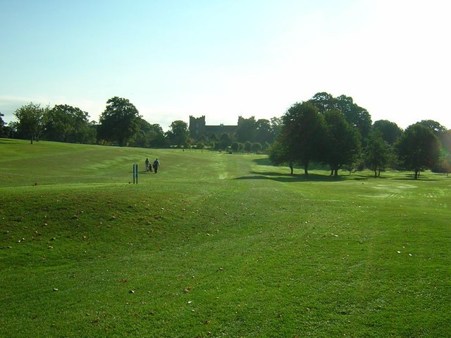 2nd Hole Chester-le-Street Golf Club looking towards Lumley Castle