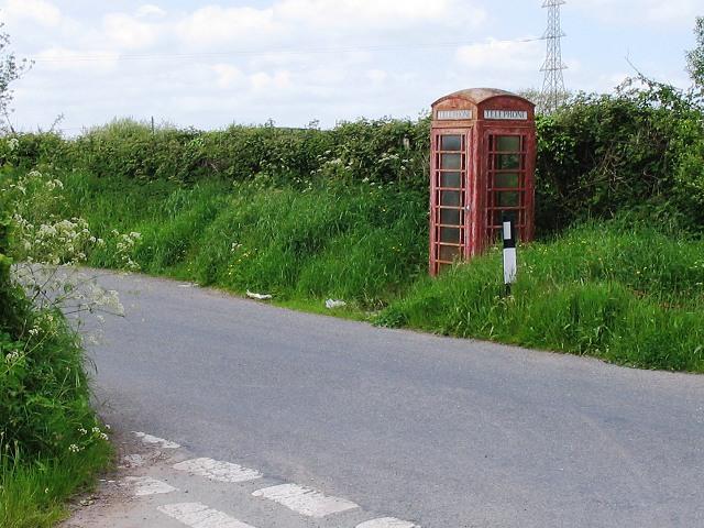 Red phone box near Constant Farm, Llandyfaelog