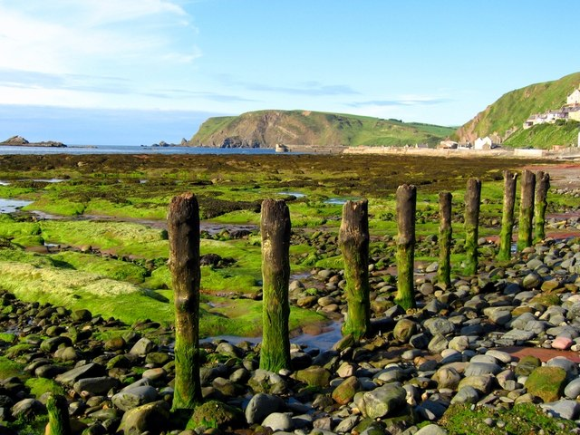 Rocky shore at Gardenstown