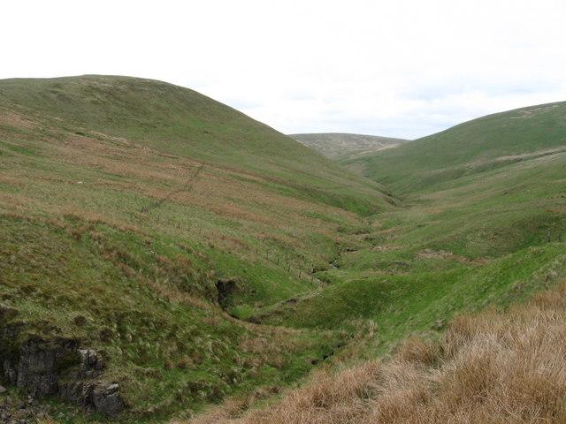 Old Wharry Burn and Kidlaw Hill