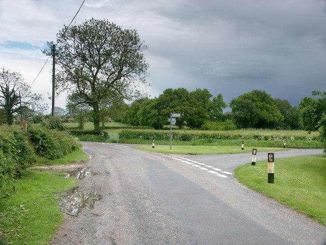 Road junction near Hulland.