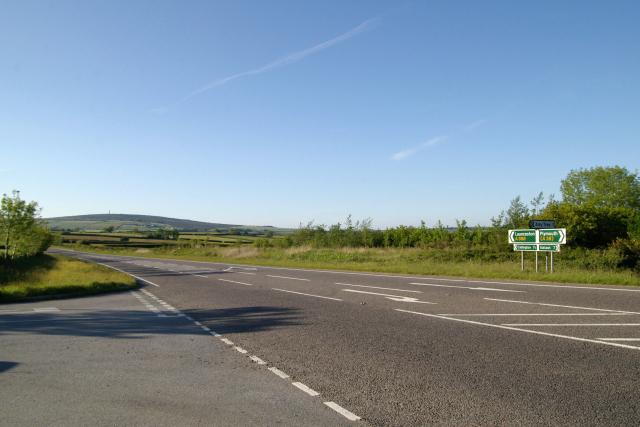 A388 Amy Tree junction, Viverdon Down, Callington