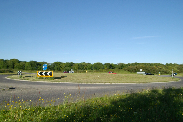 Roundabout on the A388, Viverdon Down, St Mellion