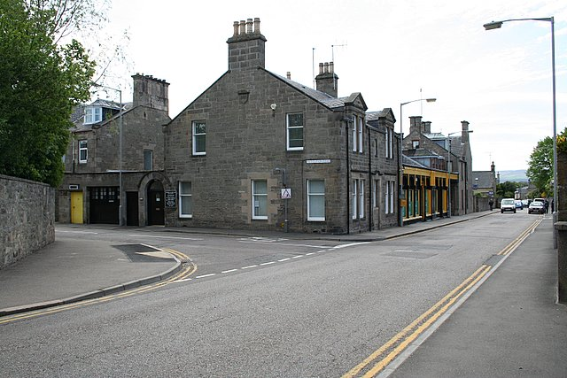 At the junction of Moss Street and Institution Road, Elgin.