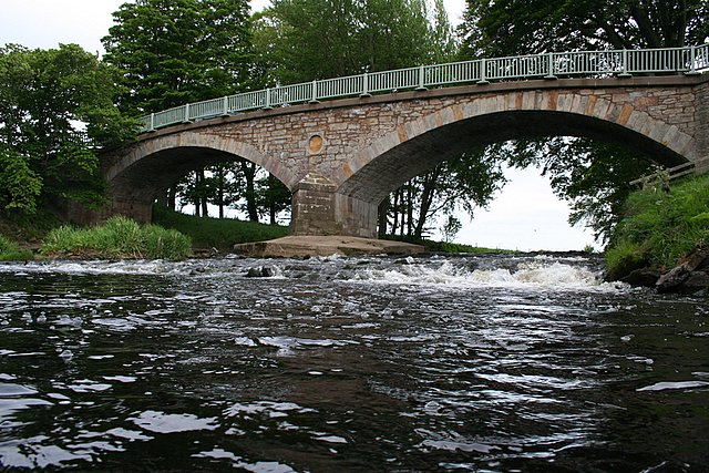 The River Lossie rushes under the bridge at Calcots, Morayshire.