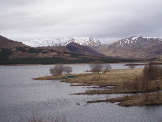 Loch Ailsh from the shore with Ben More Assynt Behind