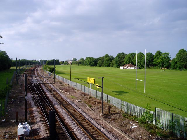 Railway and sports grounds by Long Road, Cambridge