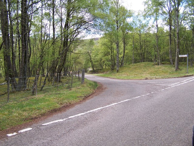 Road junction of the road to Dalbrack