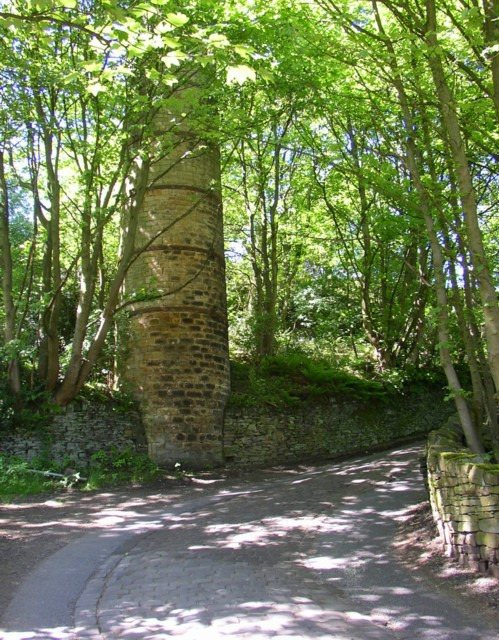 Foot of Steele Lane at Penny Hill, Barkisland, with base of mill chimney