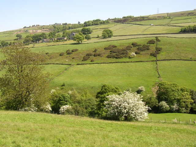 View over the valley of the Black Brook from Crow Wood Lane, Barkisland
