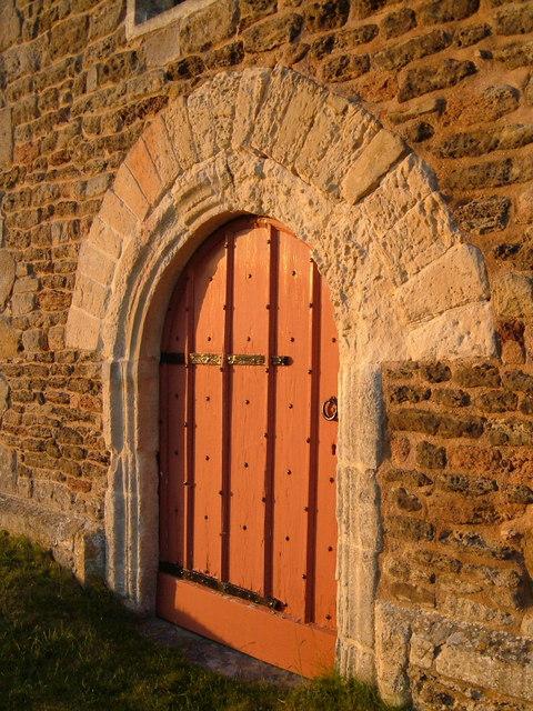 Doorway at foot of tower,  Harpford church
