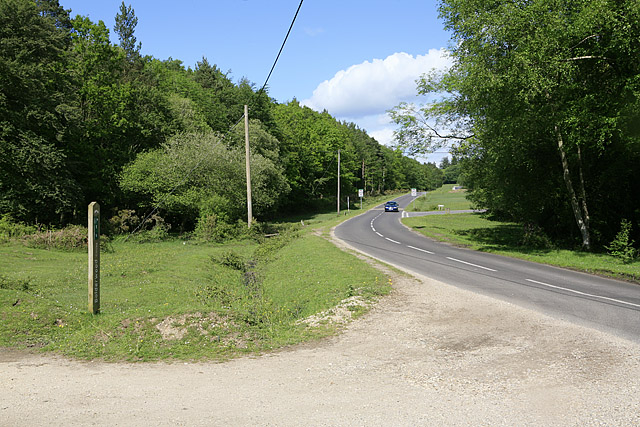 Lyndhurst Road skirting southern tip of South Oakley Inclosure