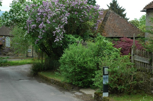 The gate to Smugglers cottage and the beautiful lilac tree