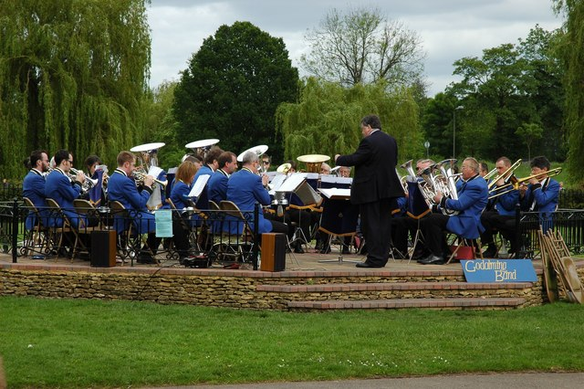 Godalming bandstand complete with band