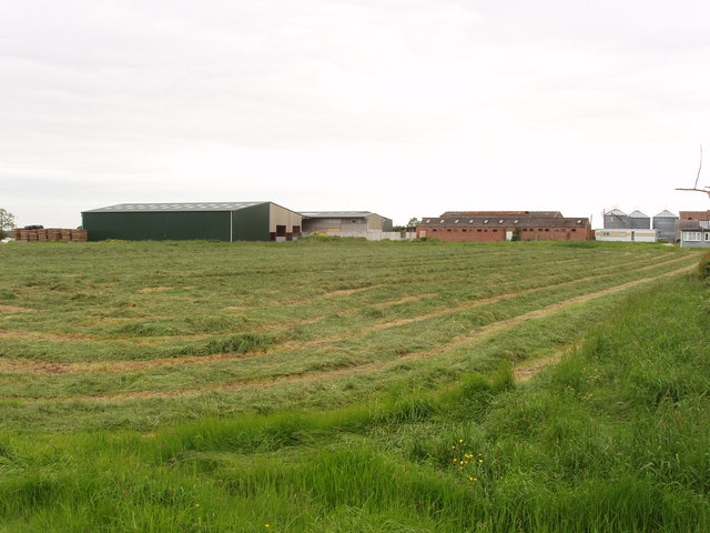 Newly mown grass and Ventfield Farm, Horton-cum-Studley