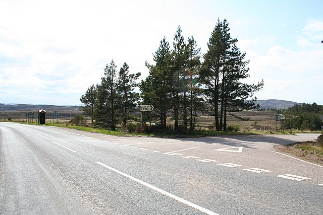 The AA box at the junction of the A939 and A940 by Dava.